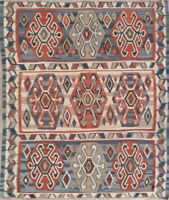 Handmade Collectable Geometric 5x6 Wool Persian Kilim Qashqai Oriental Area Rug