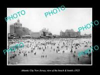 OLD LARGE HISTORIC PHOTO OF ATLANTIC CITY NEW JERSEY, THE BEACH & HOTELS c1925