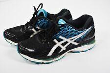 ASICS Gel Nimbus 18 Running Shoes Black / White / Island Blue T600N Men's Sz: 8