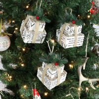 Set 3 Christmas vintage traditional present gift hanging tree decorations gift