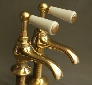 STUNNING BRASS BASIN TAPS, LEVER TAPS RECLAIMED & FULLY REFURBISHED TAPS