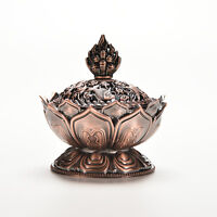 Red Copper Collectable Tibetan Lotus Figure Alloy Incense Burner Censer ZT