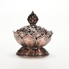 Red Copper Collectable Tibetan Lotus Figure Alloy Incense Burner Censer CO