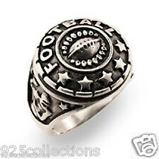 925 Sterling Silver Antiqued Plate Football Sports College School Men Ring Sz 6