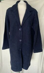 Adini wool blend coat button front side pockets long sleeves revere collar M