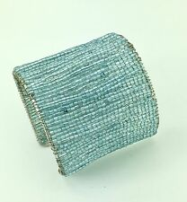 Ali Khan Bracelet Silver Tone Blue Seed Bead Cuff  Bangle
