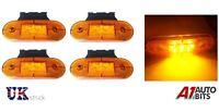 4x 24V SMD 9 LED AMBER SIDE MARKER LIGHTS & BRACKET POSITION TRUCK TRAILER LORRY