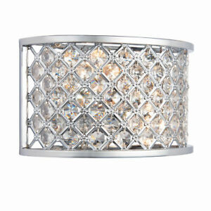 TIM Decorative Silver Chrome Wall Light with Crystal Glass Beads - E27 Dimmable