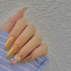 3D Holo Bear False Nails Glitter Gold Press On Nails Full Artificial False Nails