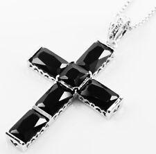 """925 Sterling Silver Black Onyx Cross Pendant for Men 3"""""""