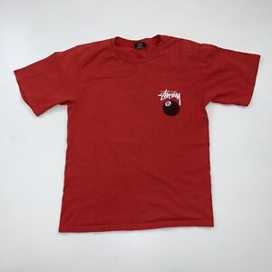 Stussy T-Shirt Size Men's Small Red 8 Ball Logo