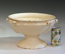 Large Italian Pottery Centerpiece Fruit Footed Bowl Vintage Hand Turned Crackle