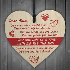 Dear Mum Wooden Hanging Heart Mothers Day Gifts Sign Present for Mum