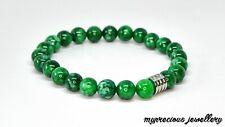 Natural Green Chalcedony Beaded Stainless Steel Gemstone Bracelet Stone Uk