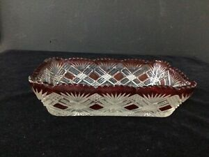 Diamond Crystal Cut Glass Red Border Rectangle Tray # 452
