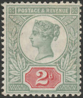 1887 JUBILEE SG199 2d SCARLET VERMILION AND GREEN MINT HINGED