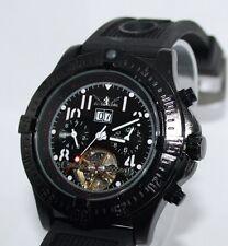 NEUES MODELL JARAGAR  Uhr Edelstahl black mit Silikonarmband Automatik