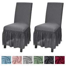 ANMINY Stretchy Chair Covers Long Skirt Removable Seat Dining Slipcovers Decor