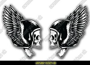 2 x Motorcycle stickers 017 skull biker gang club decals 'Born to ride'