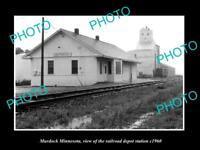 OLD LARGE HISTORIC PHOTO OF MURDOCK MINNESOTA, THE RAILROAD STATION c1960