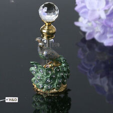 Antique Green & Gold Peacock Vintage Refillable Empty Perfume Bottle New Gifts
