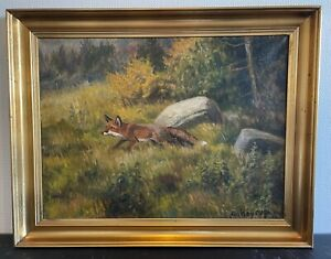 """CARL HOYRUP(1893-1961) """"A FOX IN THE LANDSCAPE"""""""