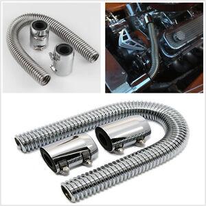 "24"" Stainless Steel Chrome Radiator Flex Coolant Water Hose Caps/Radiator cover"
