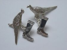 sterling silver pheasant and boot cufflinks