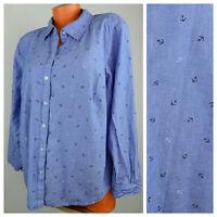 Croft & Barrow 2X 18 20 Button Down Shirt Top Blouse Blue Anchors Nautical   ff