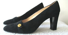 Chanel Women's Heels Shoes 7.5M Black Suede With Gold Logo Button Detail