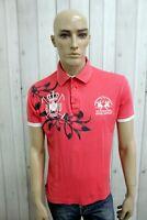 LA MARTINA Uomo Taglia L Polo Rosa Cotone Casual Maglietta Maglia Manica Corta