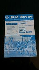 FC ZURICH v GLASGOW RANGERS  European cup  1976/77