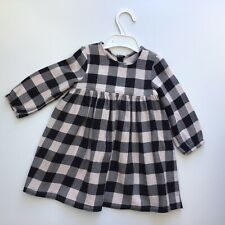 Baby Girl Clothes 12-18 Months George Outfit Grey & Black Checked  Lined Dress