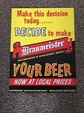 (VTG) 1950s Braumeister Milwaukee Independent Beer Cardboard Advertising Sign