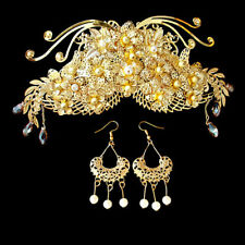 Exquisite Antique Style Golden Flowers Cluster Crown & Earrings Clip On