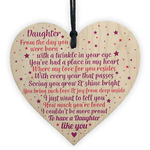 Daughter Gifts From Mum Dad Wood Heart Plaque Birthday Christmas Thank You Gift