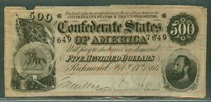 1864, T64, $500.00, Confederate Coat of Arms, F/VF, scarce