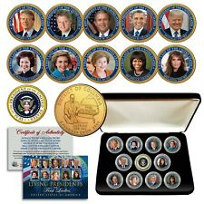 LIVING PRESIDENTS & FIRST LADIES Washington DC Quarters 24K Gold 11-Coin Set BOX