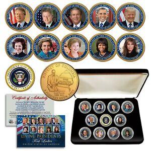 LIVING PRESIDENTS & FIRST LADIES Washington DC Quarters 24K Gold 11-Coin Set BOX