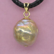 Lustrous luster Natural 13.5x13.2 MM gold pink SOUTH SEA PEARL PENDANT Baroque