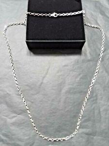 Fine Sterling Silver Diamond Cut Polished Belcher Unisex Chain 60cms in Box - UK