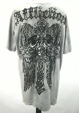 Affliction Fealons Souls Mens Distressed Cross Tied Dyed Gray Green 3XL USA Made
