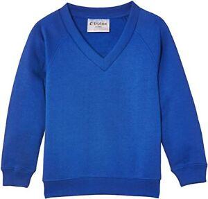 "Trutex Unisex V-neck Sweatshirt, Royal Blue, 16 + Years Size XXL Chest 46"" - 48"""