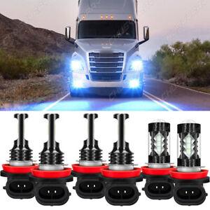 For Freightliner Cascadia 2008-2015 2016 6x LED Headlight High/Low+Fog Bulbs Kit
