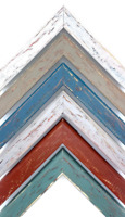 """Colorful Aged Wood Picture Frame, Rustic, Green, Blue, Red + More, 1 1/16"""""""