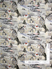 Christmas Fabric Winter Church House Village Scenic Wintervale CP58638 ~ Yard