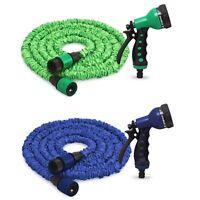 Flexibler Gartenschlauch grün o. blau | Dehnbarer Wasserschlauch | Sprühpistole