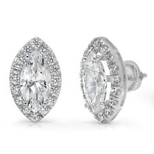 3.64 Marquise Round Cut Halo Created White Sapphire Stud Earrings 14k White Gold