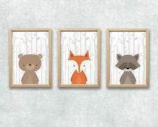 Bild Set Wald Tiere Kunstdruck A4 Bär Fuchs Reh Kinderzimmer Bilder Deko K1-K4