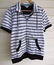 Millers Women's White & Black Stripe Short-Sleeve Top - Size 10